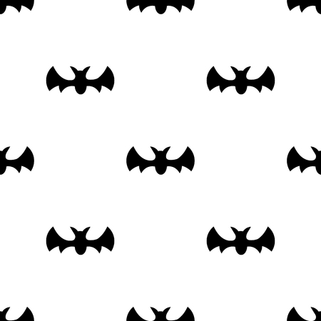 Seamless pattern with black silhouette bats. Halloween texture. Vector illustration for design, web, wrapping paper, fabric, wallpaper. Banque d'images - 124612862