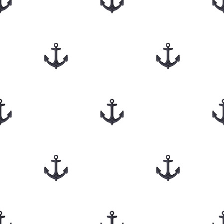 Seamless pattern with black anchor on a white background. Cartoon style. Vector illustration for design, web, wrapping paper, fabric, wallpaper. Vektorové ilustrace