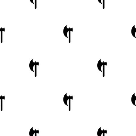 Seamless pattern with black silhouette icon of axe isolated on white background. Medieval weapon sign. Vector illustration for design, web, wrapping paper, fabric, wallpaper.