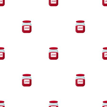 Seamless pattern with jam jar on white background. Natural healthy food production. Vector illustration for design, web, wrapping paper, fabric, wallpaper.