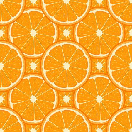 Patrón sin fisuras con media fruta fresca de naranja. Mandarina. Fruta ecológica. Estilo de dibujos animados. Ilustración de vector de diseño, web, papel de regalo, tela, papel tapiz.