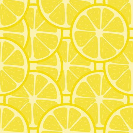 Seamless pattern with fresh lemon fruit. Abstract lemon background. Vector illustration for design, web, wrapping paper, fabric, wallpaper.