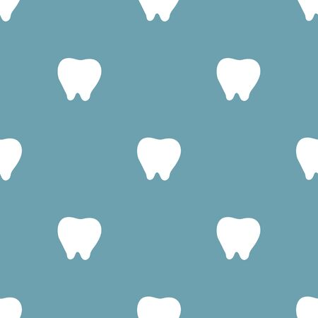 Seamless pattern with white tooth icon on blue background. Dentist concept. Vector illustration for design, web, wrapping paper, fabric, wallpaper. Illustration