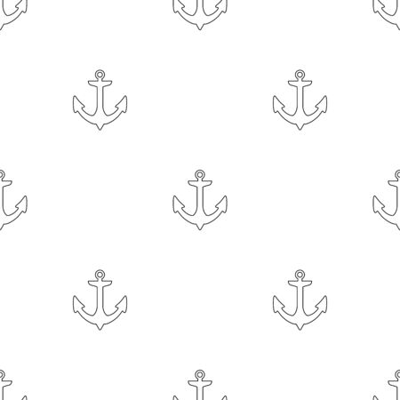 Seamless pattern with outline anchors on a white background. Vector illustration for design, web, wrapping paper, fabric, wallpaper.