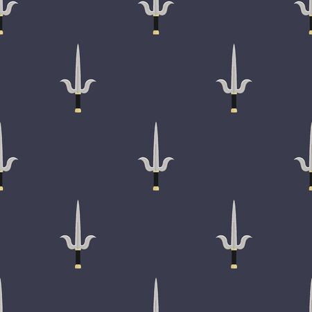Seamless pattern with sai weapon. Ninja weapon. Samurai equipment. Cartoon style. Vector illustration for design, web, wrapping paper, fabric, wallpaper.  イラスト・ベクター素材