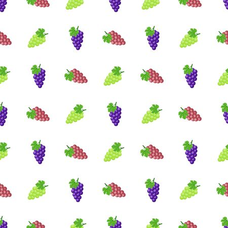 Seamless pattern with purple, green and red grapes isolated on white background. Bunch of purple grapes with stem and leaf. Vector illustration for design, web, wrapping paper, fabric, wallpaper. 向量圖像