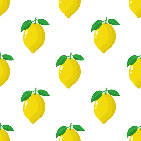 Seamless pattern with fresh whole lemon fruit on white background. Vector illustration for design, web, wrapping paper, fabric, wallpaper.