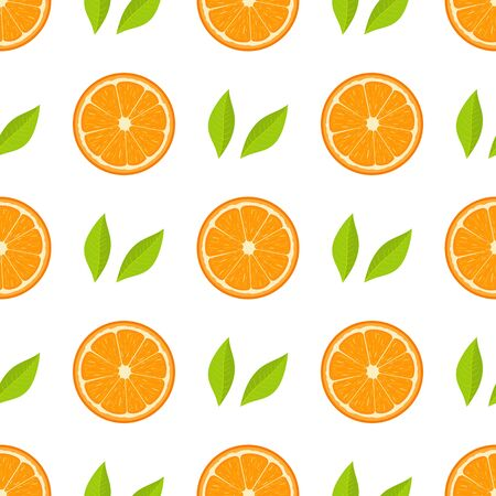 Seamless pattern with fresh half orange fruit and green leaves on white background. Tangerine. Organic fruit. Cartoon style. Vector illustration for design, web, wrapping paper, fabric, wallpaper.