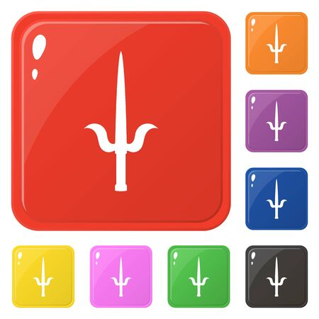 Sai weapon icons set 8 colors isolated on white. Collection of glossy square colorful buttons. Vector illustration for any design.