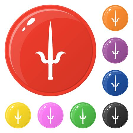 Sai weapon icons set 8 colors isolated on white. Collection of glossy round colorful buttons. Vector illustration for any design.  イラスト・ベクター素材