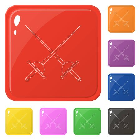 Line style crossed rapier icons set 8 colors isolated on white. Collection of glossy square colorful buttons. Vector illustration for any design.