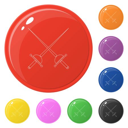 Line style crossed rapier icons set 8 colors isolated on white. Collection of glossy round colorful buttons. Vector illustration for any design.