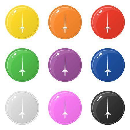 Rapier icons set 9 colors isolated on white. Fencing concept. Collection of glossy round colorful buttons. Vector illustration for any design. Illustration