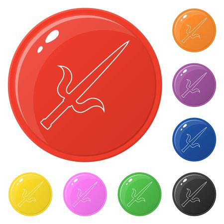 Line style sai weapon icons set 8 colors isolated on white. Collection of glossy round colorful buttons. Vector illustration for any design.