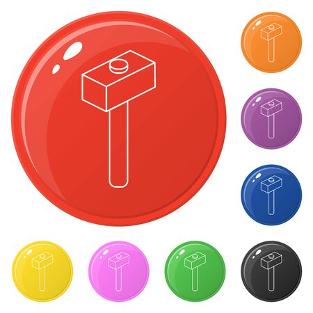 Line style hammer icons set 8 colors isolated on white. Collection of glossy round colorful buttons. Vector illustration for any design.