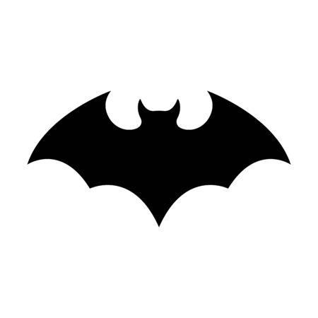 Schwarze Silhouette der Fledermaus isoliert auf weißem Hintergrund. Halloween-dekoratives Element. Vektorillustration für jedes Design. Vektorgrafik