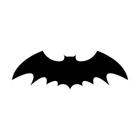 Siluetta nera del pipistrello isolato su priorità bassa bianca. Elemento decorativo di Halloween. Illustrazione vettoriale per qualsiasi disegno.