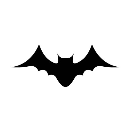 Black silhouette of bat isolated on white background. Halloween decorative element. Vector illustration for any design. Illustration