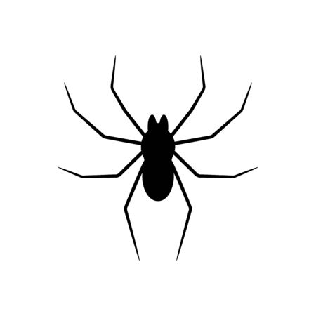 Black silhouette of spider isolated on white background. Halloween decorative element. Vector illustration for any design. Иллюстрация