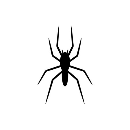 Black silhouette of spider isolated on white background. Halloween decorative element. Vector illustration for any design. Vectores