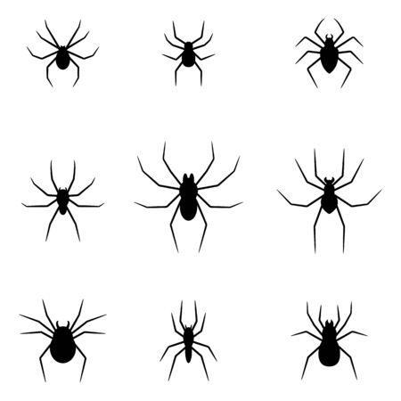 Zestaw czarne sylwetki pająków na białym tle. Halloweenowe elementy dekoracyjne. Ilustracja wektorowa dla każdego projektu.