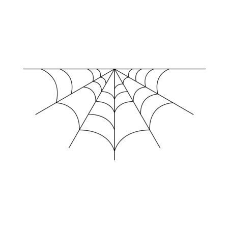 Half spider web isolated on white background. Halloween spiderweb element. Cobweb line style. Vector illustration for any design. Vectores