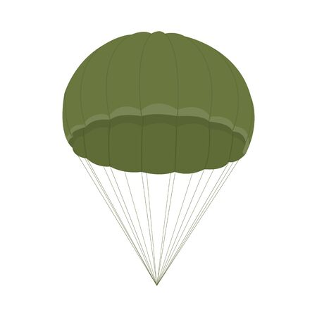 Parachute icon isolated on white background. Military army equipment for air transport and skydiving. Vector illustration for design. Vetores