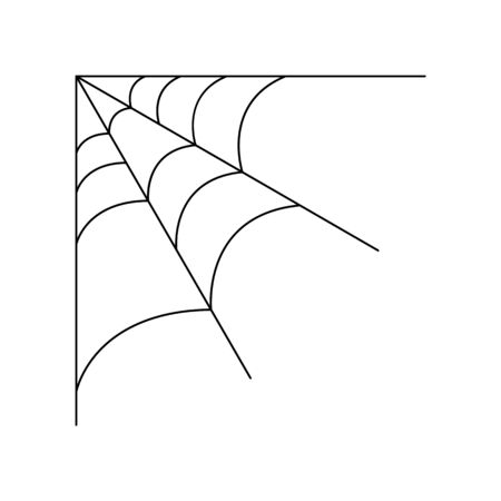 Quarter spider web isolated on white background. Halloween spiderweb element. Cobweb line style. Vector illustration for any design. Vectores