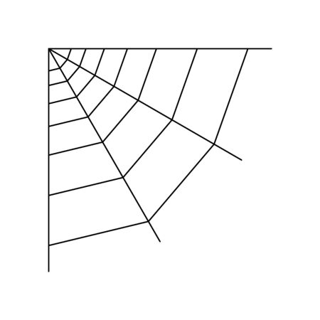 Quarter spider web isolated on white background. Halloween spiderweb element. Cobweb line style. Vector illustration for any design. Stock Illustratie