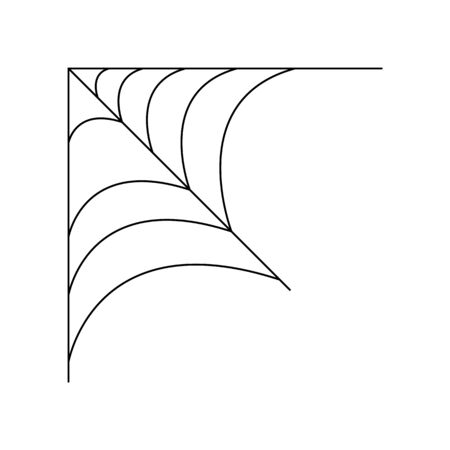 Quarter spider web isolated on white background. Halloween spiderweb element. Cobweb line style. Vector illustration for any design. Ilustração