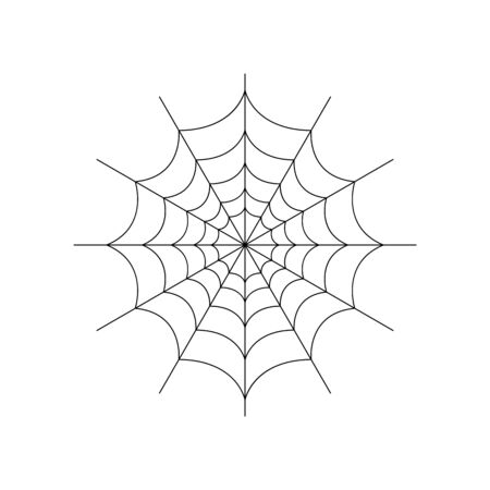 Round whole spider web isolated on white background. Halloween spiderweb element. Cobweb line style. Vector illustration for any design. Vector Illustratie