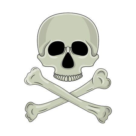 Skull and crossed bones isolated on white background. Cartoon human skull. Vector illustration for any design.  イラスト・ベクター素材