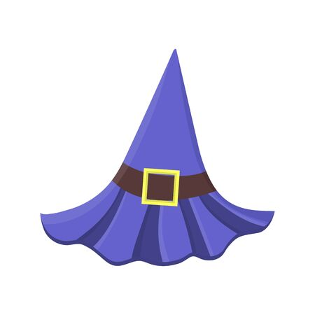 Cartoon purple witch hat with buckle isolated on white background. Children kid costume masquerade party. Design element for Halloween. Vector illustration.