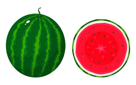 Set of colorful whole and half of juice watermelon isolated on white background. Fresh cartoon berries. Vector illustration for any design.  イラスト・ベクター素材