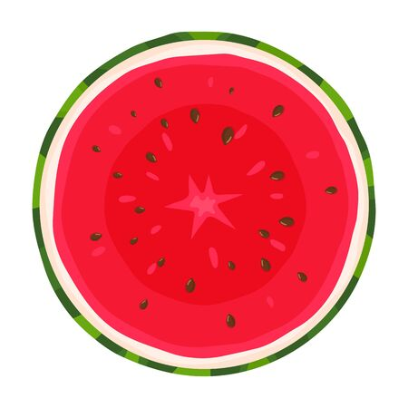 Colorful cartoon cut slice half of juice watermelon isolated on white background. Fresh cartoon berries. Vector illustration for any design.