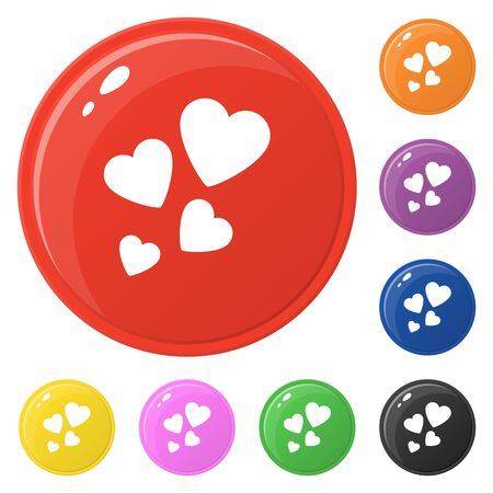 Heart icons set 8 colors isolated on white. Collection of glossy round colorful buttons. Vector illustration for any design. Çizim
