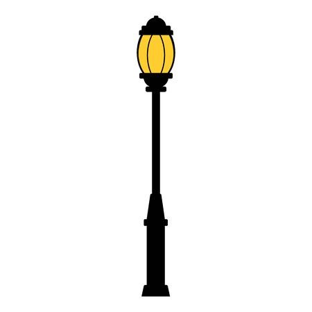 Street light black silhouette isolated on white background. Set of modern and vintage street lights. Elements for landscape construction. Vector illustration for any design.