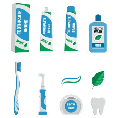 Set of dental cleaning tools. Oral care and hygiene products. Toothbrush, toothpaste, mouthwash, electric brush, tongue scraper and dental floss. Vector illustration for any design.