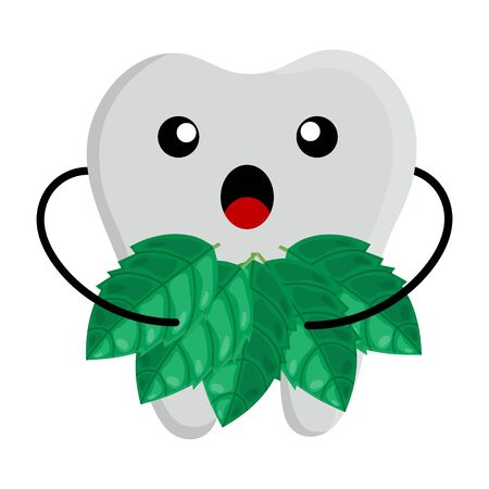 Tooth kawaii character holding leaves of mint isolated on white background. Vector illustration for any design.