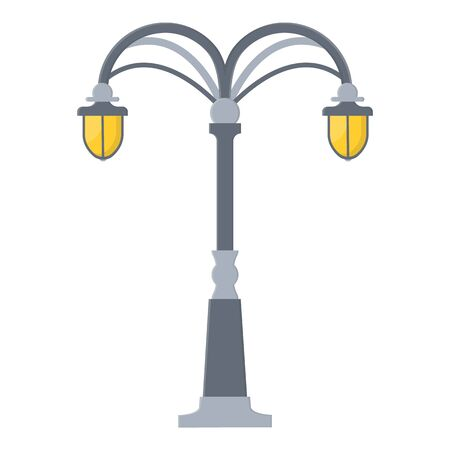 Street light cartoon isolated on white background. Modern and vintage street light. Elements for landscape construction. Vector illustration for any design.