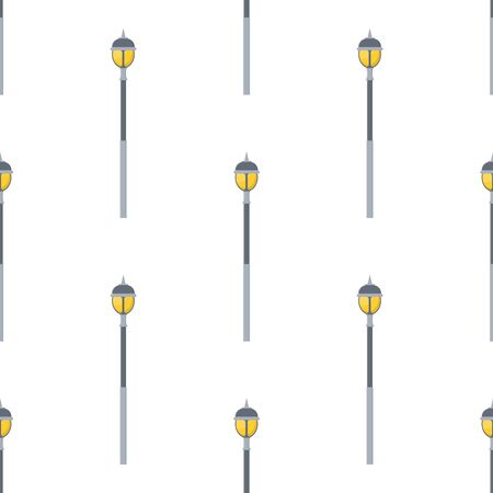 Seamless pattern with street lights cartoon isolated on white background. Modern and vintage street light. Elements for landscape construction. Vector illustration for design, web, wrapping paper.