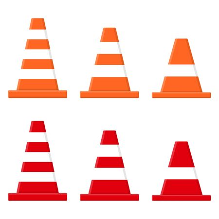 Set of traffic cones isolated on white background. Cartoon style. Vector illustration for any design.
