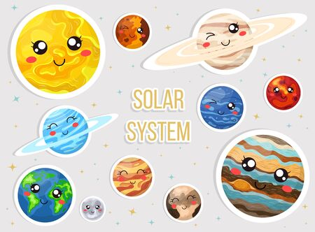 Solar system with cute cartoon planets. Cute planets with funny faces sticker set. Vecrtor illustration for any design.