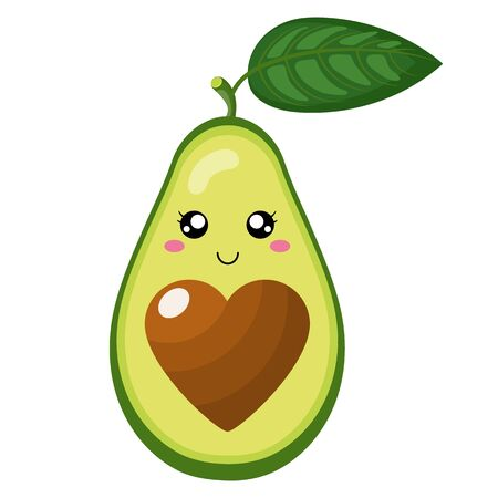 Cute cartoon avocado character in love isolated on white background. Vector illustration for any design. Ilustração