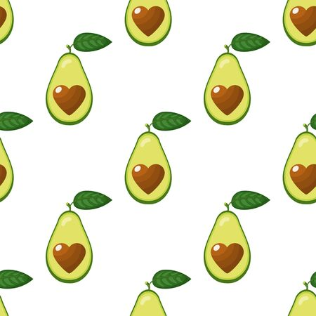 Seamless pattern with fresh half avocado with heart isolated on white background. Summer fruits for healthy lifestyle. Organic fruit. Cartoon style. Vector illustration for any design. Ilustração