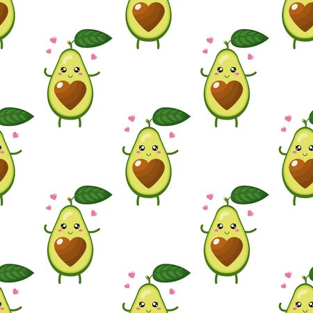 Seamless pattern with cute cartoon avocado character in love on white background. Vector illustration for any design.