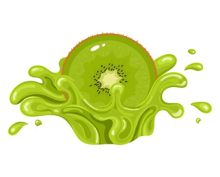 Kiwi fruit juice. Fresh kiwifruit splash isolated on white background. Vector illustration for any design. Ilustracja
