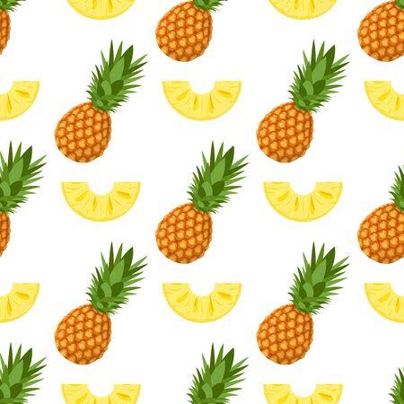 Modèle sans couture avec des tranches d'ananas frais entiers et coupés avec des feuilles sur fond blanc. Fruits d'été pour un mode de vie sain. Fruits biologiques. Style de bande dessinée.