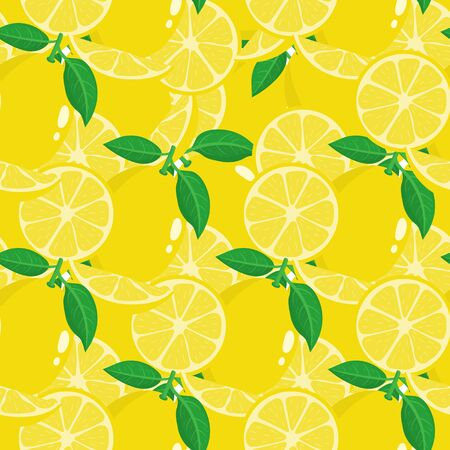 Seamless pattern with lemons on white background. Organic fruit. Cartoon style. Vector illustration for design, web, wrapping paper, fabric, wallpaper.