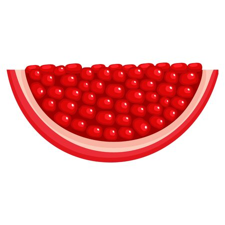 Fresh bright exotic pomegranate chunk isolated on white background. Summer fruits for healthy lifestyle. Organic fruit. Cartoon style. Vector illustration for any design.
